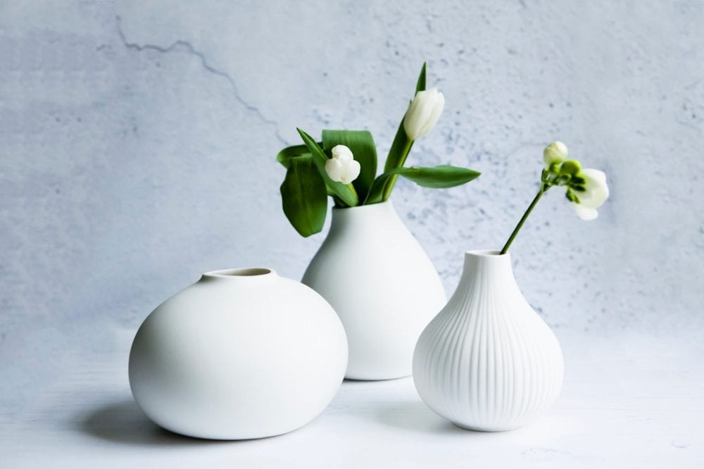 White Ceramic Vases from Layered Lounge