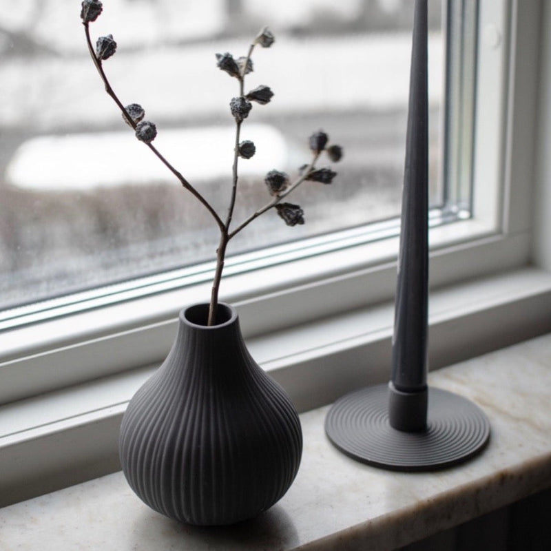 Dark Grey Ribbed Bud Vase from Layered Lounge