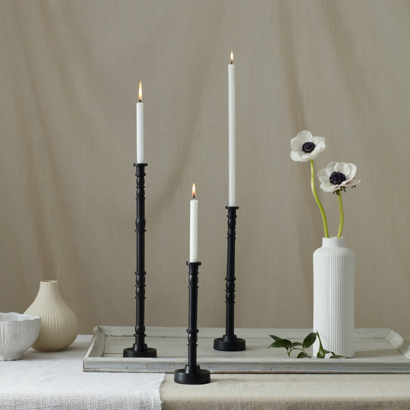 Tall Slender Black Candlesticks
