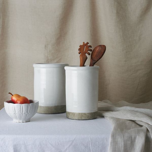 Crackle Glaze Utensil Jar