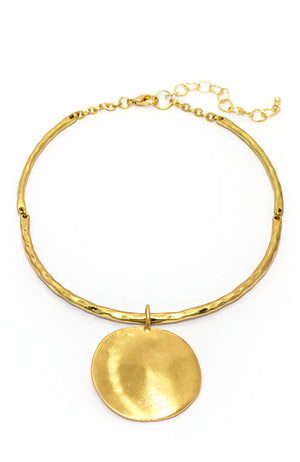 Gold Tone Collar With Round Disc Drop Necklace