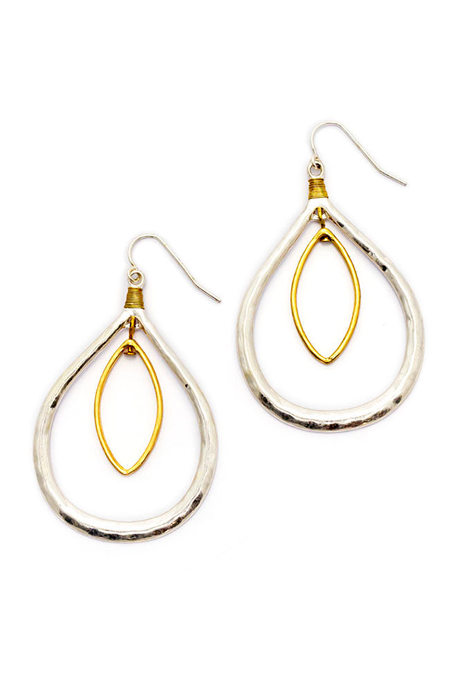 Two-Tone Oval Orbital Teardrop Earrings