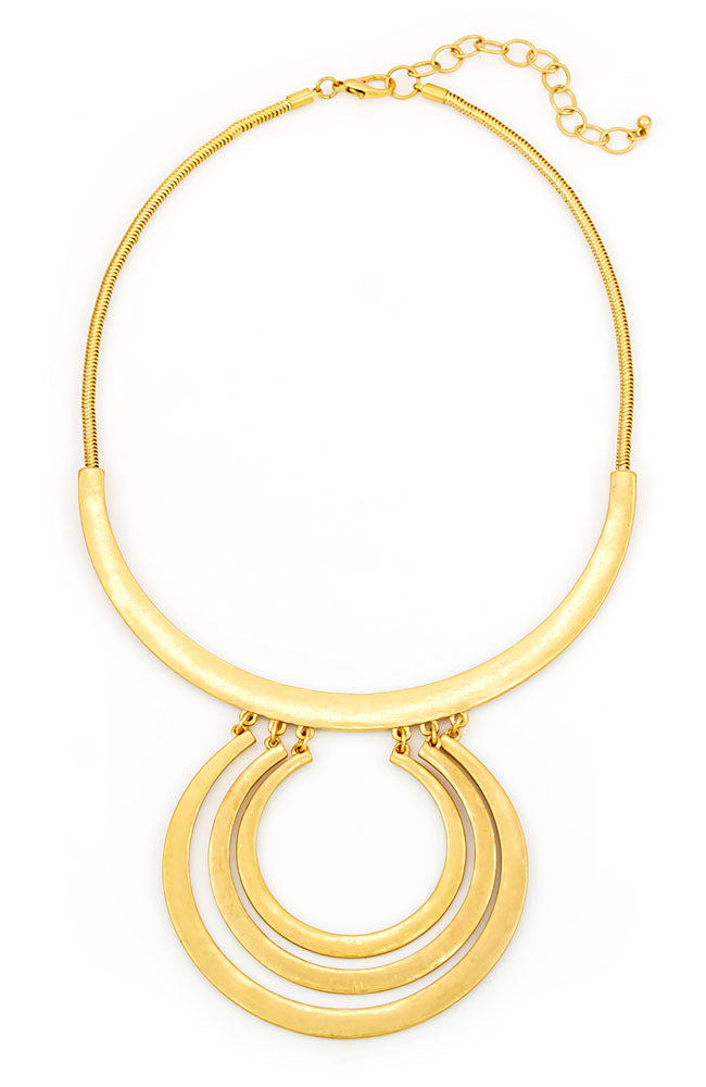 Goldtone Bar Short Collar Necklace