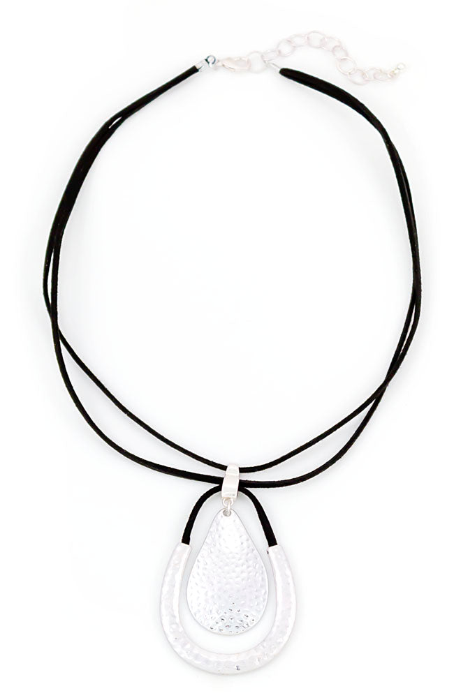 Silvertone Short Pear shape Necklace