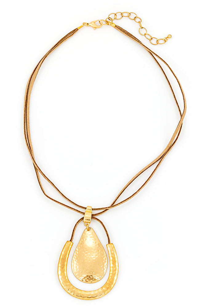 Goldtone Short Pear shape Necklace