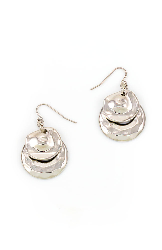 SILVERTONE DOUBLE DROP EARRINGS