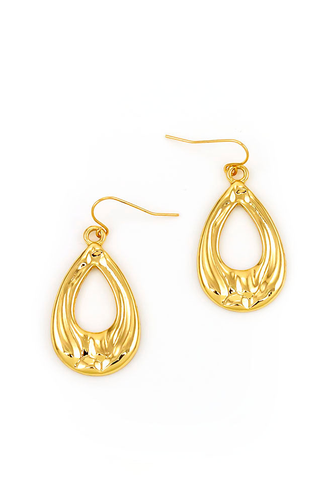 GOLDTONE PEAR SHAPE DROP EARRINGS