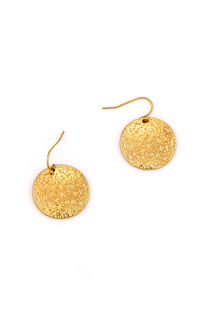 GOLDTONE DISK DROP EARRING