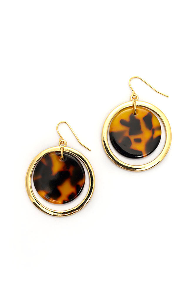 Goldtone Tortoise Drop earrings