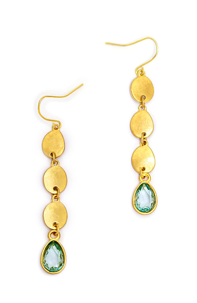 LINEAR STONE DROP EARRINGS WITH GREEN STONES