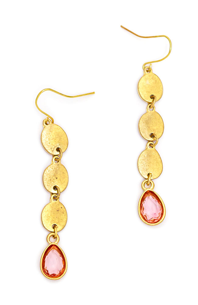 LINEAR STONE DROP EARRINGS WITH PINK STONES