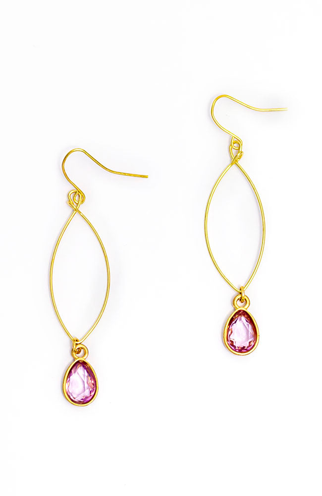 Wire Earrings with stone drops