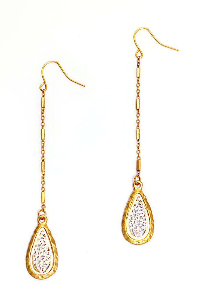 TWO TONE DROP METAL EARRINGS
