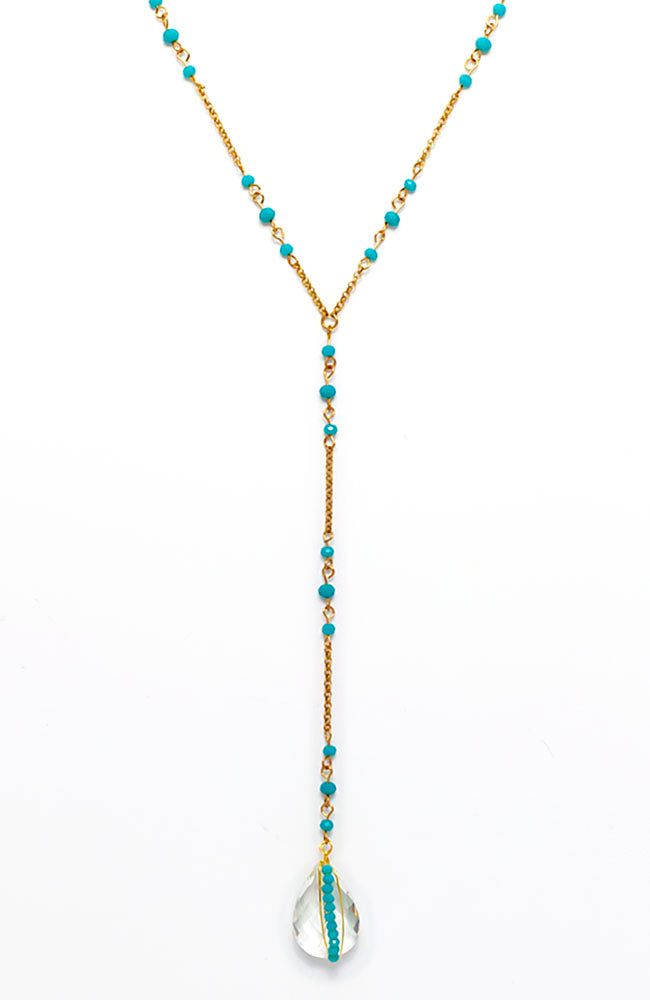 Y necklace with turquiose stones