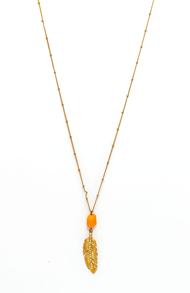 Long leaf coral pendant