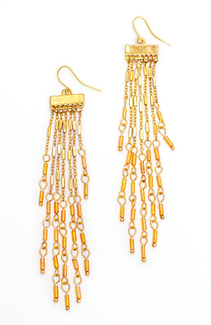 CHANDELIER DROP EARRING WITH CORAL ACCENTS