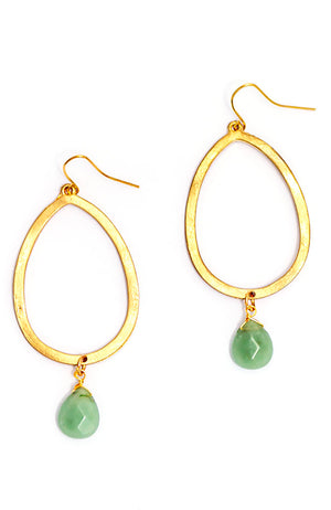 GOLDTONE HOOP EARRINGS WITH STONE DROP