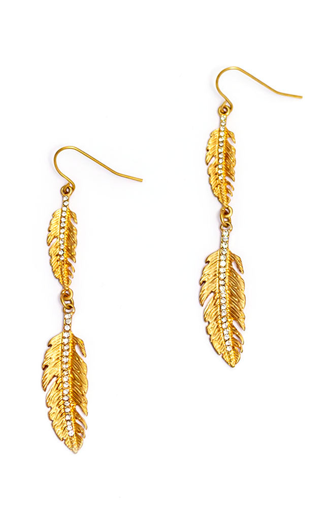 GOLDTONE LEAF DROP EARRINGS