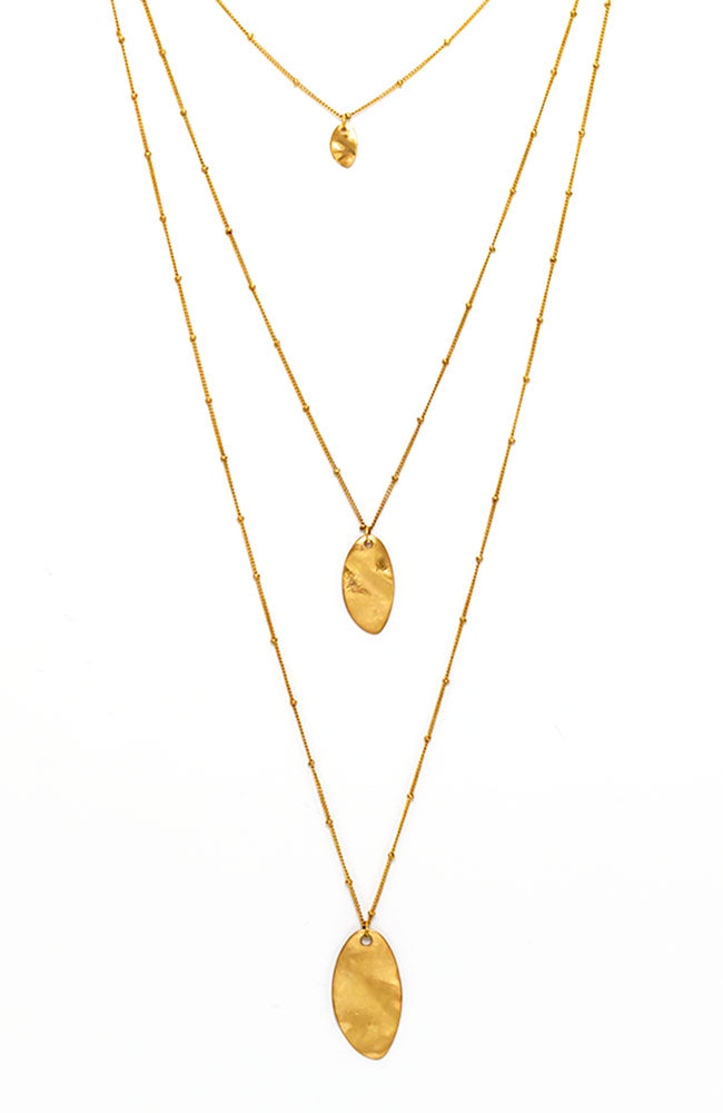 Triple strand goldtone necklace