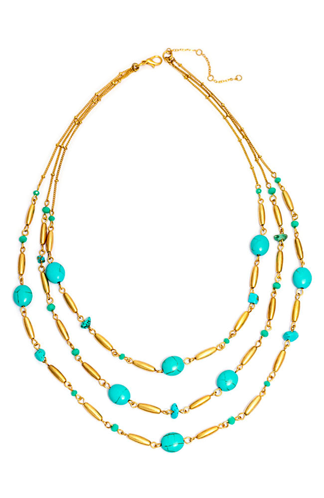 TRIPLE STRAND TURQUIOSE NECKLACE