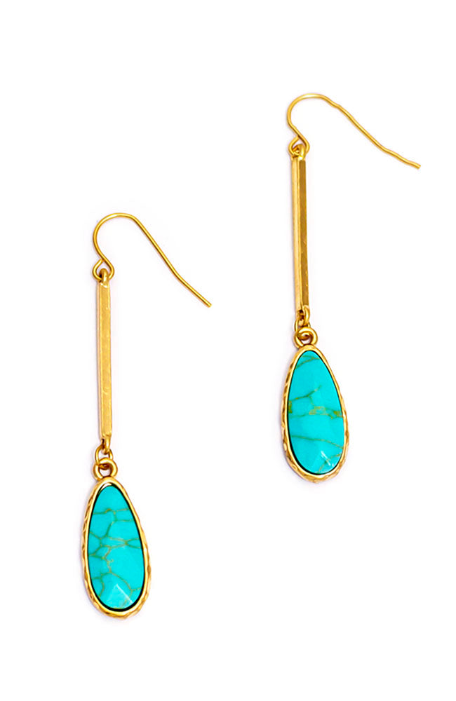 STICK DROP STONE EARRINGS