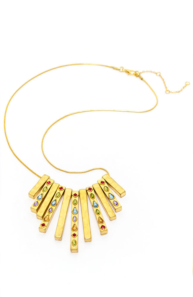 Goldtone Short Collar Necklace with Multi stones