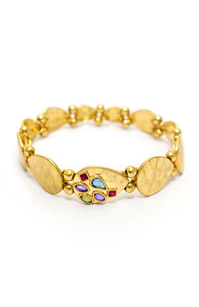 Goldtone stretch bracelet with Multi stones