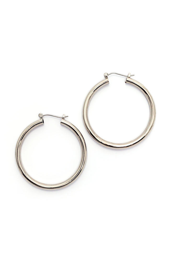 Classic Hoop Earrings in Silvertone