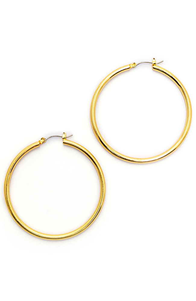Gold Tone 50 mm Hoop Earrings