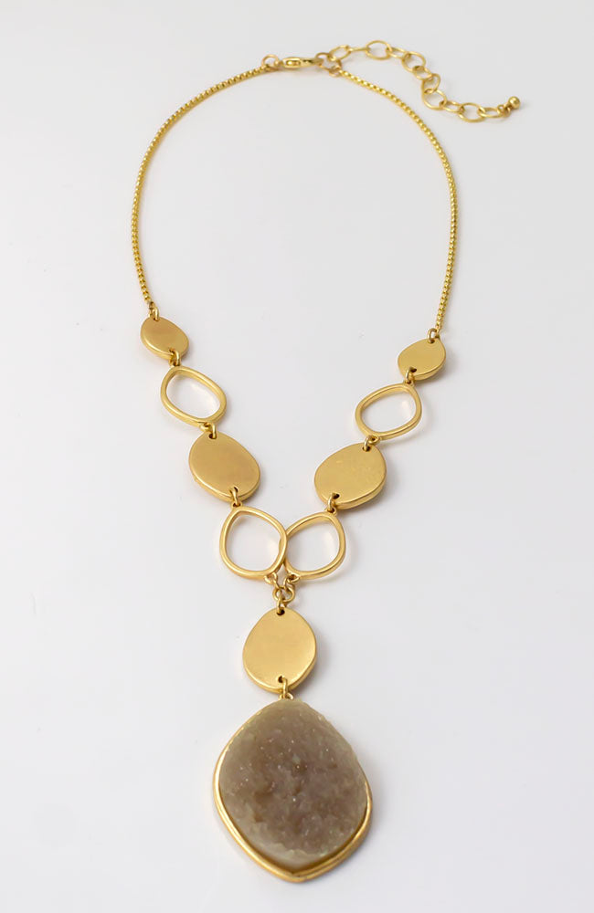 Y necklace with druzy stones and gold tone