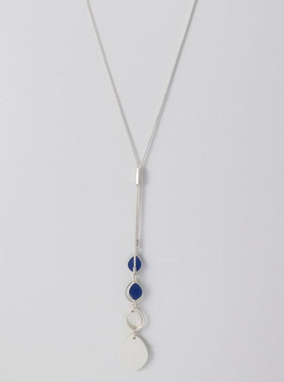 Long double y necklace in silver tone