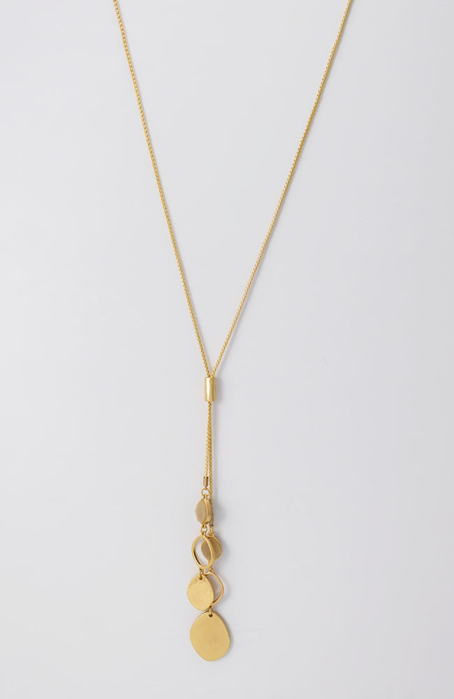 Long double y necklace in gold tone