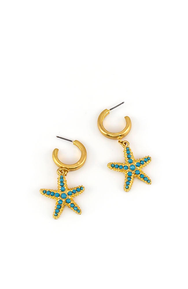 Turquoise Star Fish Hoop Earrings