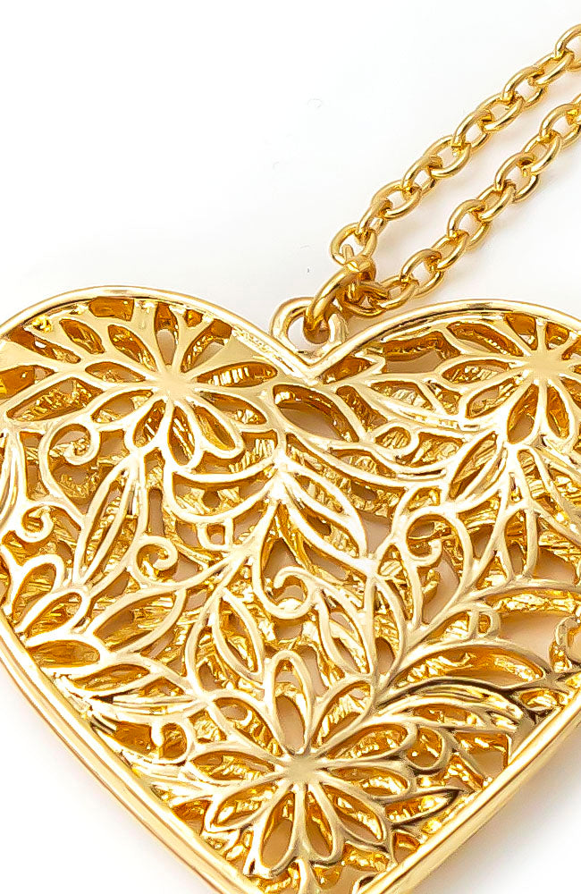 GOLDTONE LONG HEART PENDANT
