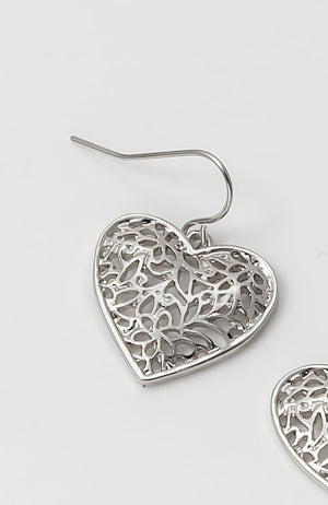 HEART EARRING DROP IN RHODIUM