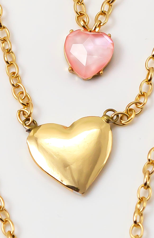 3 ROW HEART NECKLACE