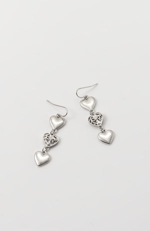 TRIPLE DROP EARRINGS IN RHODIUM