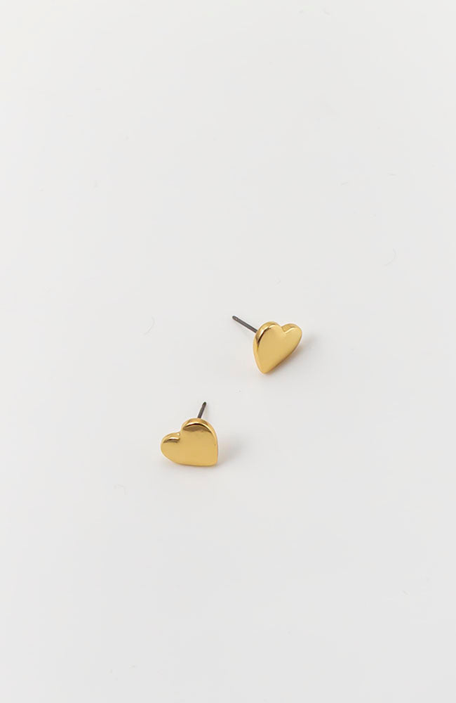 GOLDTONE HEART STUD EARRINGS