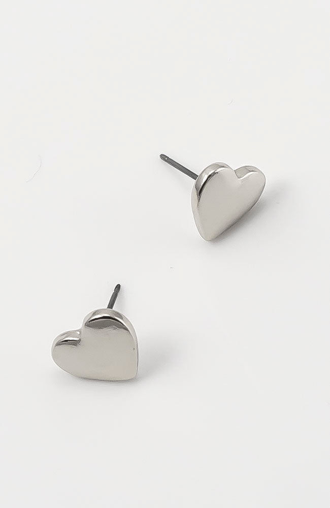 RHODIUM  HEART STUD EARRINGS