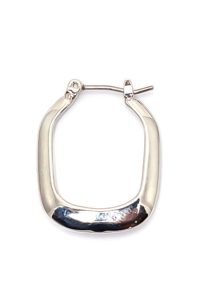 Silvertone square Hoop earrings