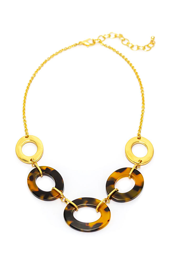 Goldtone and Tortoise Linked necklace