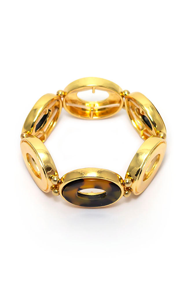Tortoise shell Gold Tone Link Stretch Bracelet