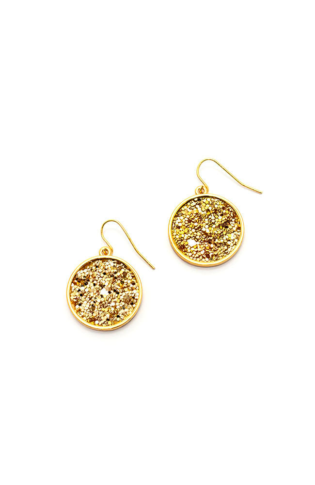 Goldtone Glitter Drop Earrings