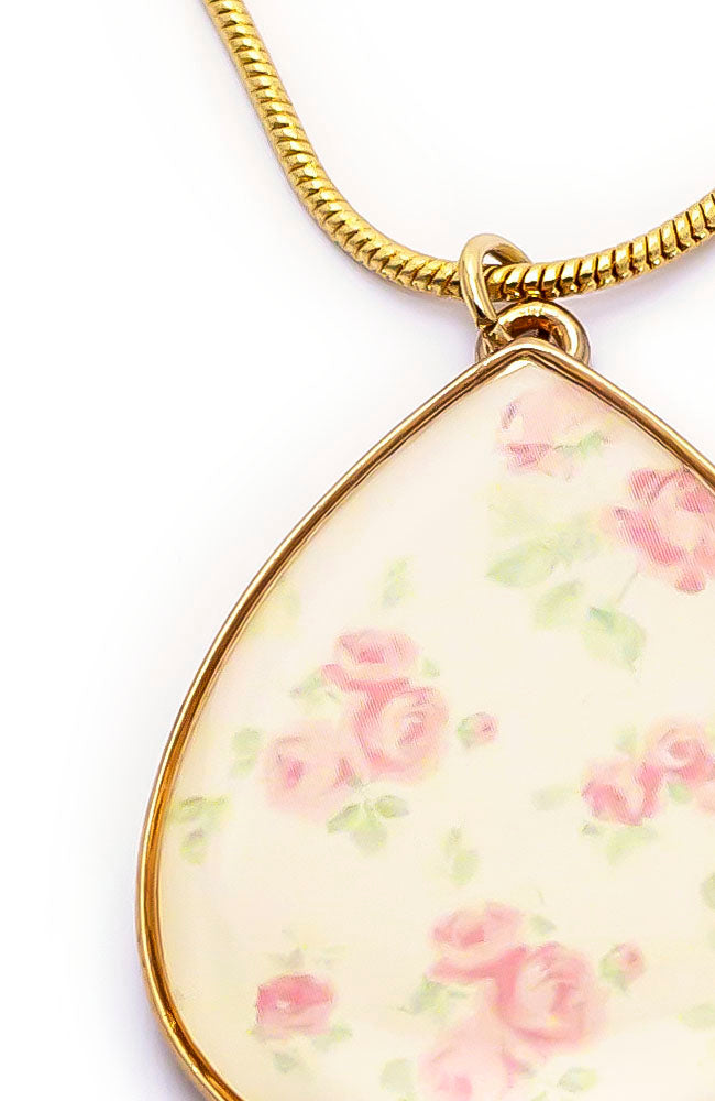 PINK FLORAL PRINT TEAR NECKLACE