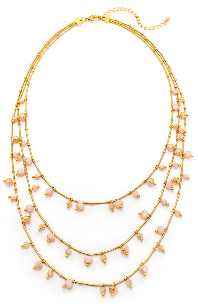 THREE LAYERS BEAD DROP NECKLACE