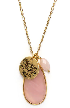 Goldtone and Pink charm necklace