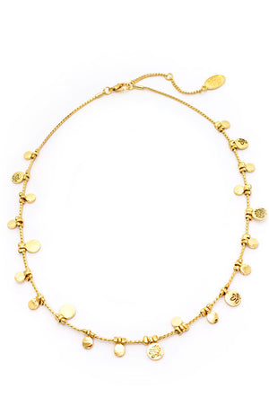 GOLD ETCHED FLOWER DROP NECKLACE