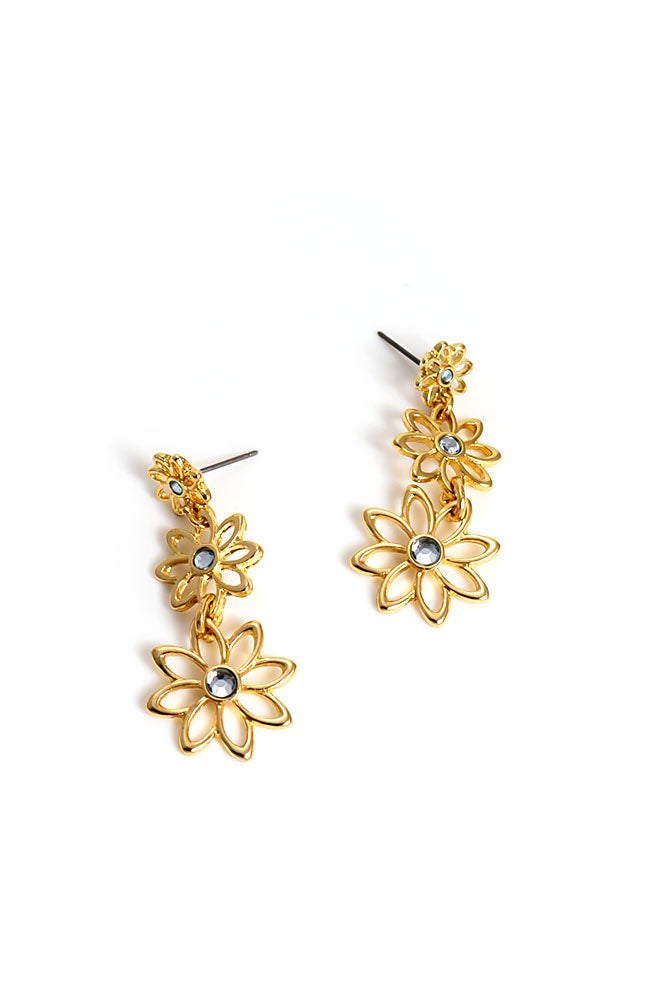 Triple Flower Drop Earring