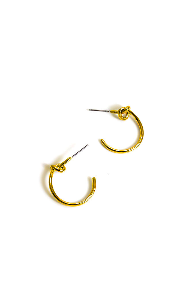 Goldtone Knot hoop earrings