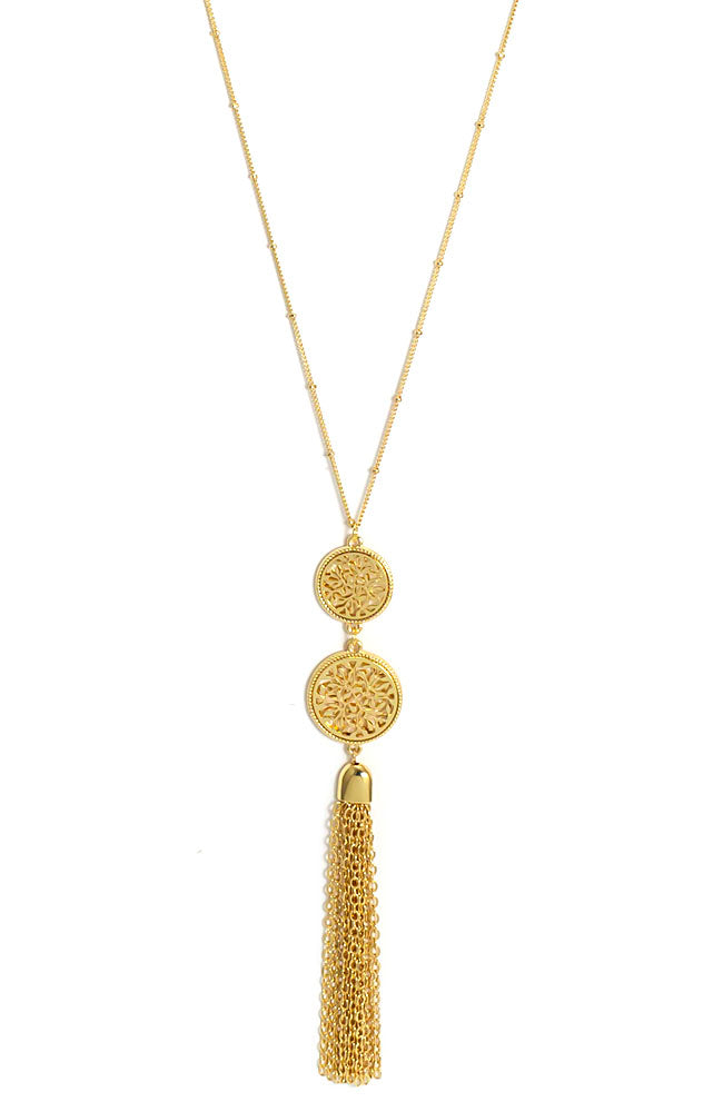 Goldtone Tassel necklace